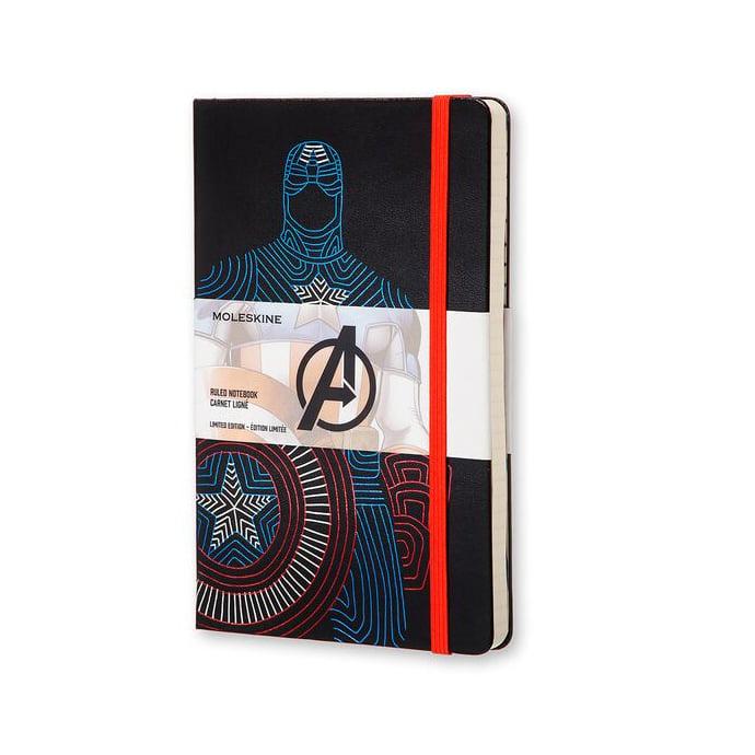 Caderno Moleskine Edição Limitada, Vingadores , Versão Capitão América,  Capa Dura, Pautado, Grande