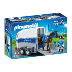 PLAYMOBIL - CITY ACTION - POLICIAL MONTADA COM TRAILER - 6922